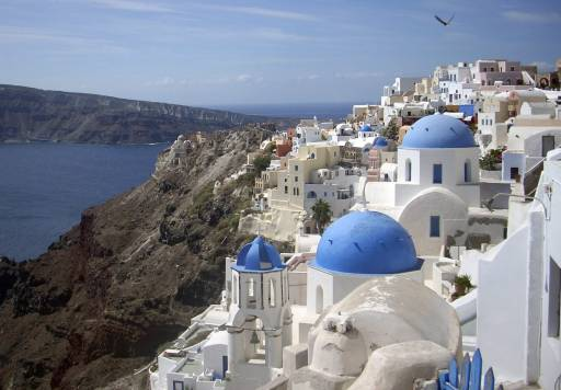 This 2009 file photo shows a view of Oia village on the island of Santorini, Greece.